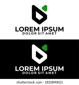 Initial letter D logo template with sporty geometric fox head line art illustration in flat design monogram symbol
