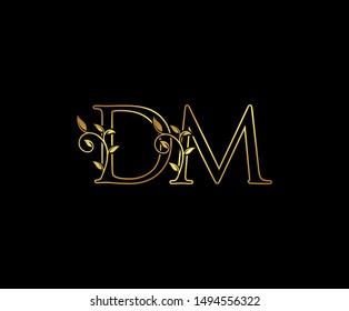 Initial letter D and M, DM, Gold Logo Icon,  classy gold letter monogram logo icon Suitable for boutique,restaurant, wedding service, hotel or business identity.