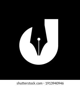 initial letter d pen nib black vector logo illustration design isolated background