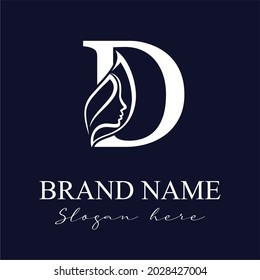 Initial Letter D With Woman Female Face and Leaves for Beauty Spa Cosmetic Salon and natural Skin care Business Logo Concept Design