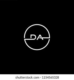 Initial letter DA AD minimalist art monogram circle shape logo, white color on black background