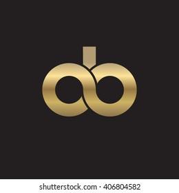 initial letter db, do, ob linked circle lowercase logo gold black background