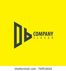 Initial Letter DB Linked Triangle Design Logo