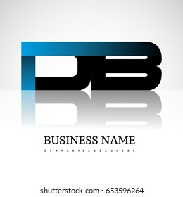 Initial letter DB uppercase modern and simple logo linked blue and black colored, isolated in white background. Vector design for company identity.