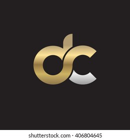 initial letter dc linked circle lowercase logo gold silver black background