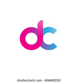 initial letter dc linked circle lowercase logo ping blue purple