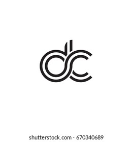Initial letter dc, linked outline rounded lowercase, monogram black