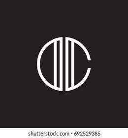 Initial letter DC, OC, minimalist line art monogram circle shape logo, white color on black background