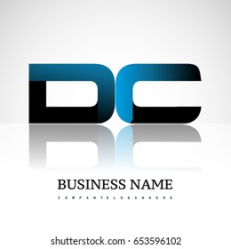 Initial letter DC uppercase modern and simple logo linked blue and black colored, isolated in white background. Vector design for company identity.