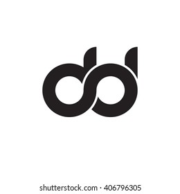 initial letter dd linked circle lowercase monogram logo black