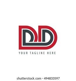 Initial Letter DD Linked Design Logo Red Black