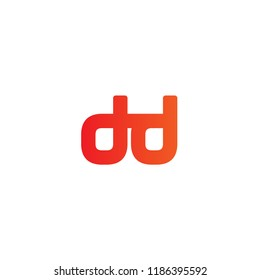 Initial Letter DD Linked Logo Design In Red and Orange Colored