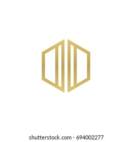 Initial letter DD, OO, DO, OD, minimalist line art hexagon shape logo, gold color
