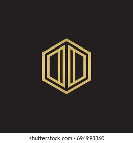 Initial letter DD, OO, DO, OD, minimalist line art hexagon logo, gold color on black background