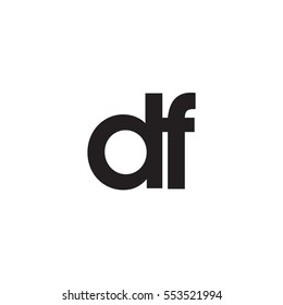 Initial letter DF black white logo