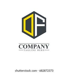 Initial Letter DF OF Hexagonal Design Logo