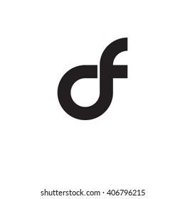 initial letter df linked circle lowercase monogram logo black
