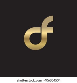 initial letter df linked circle lowercase logo gold black background