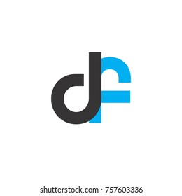 Initial Letter DF Linked Circle Lowercase Logo Black Blue Icon Design Template Element