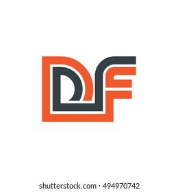 Initial Letter DF Linked Design Logo Orange Black