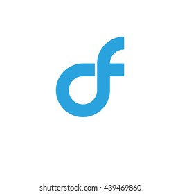 initial letter df linked round lowercase logo blue