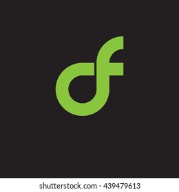 initial letter df linked round lowercase logo green