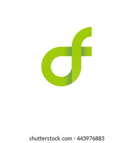 initial letter df modern linked circle round lowercase logo green