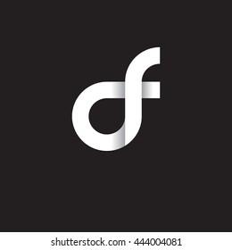 initial letter df modern linked circle round lowercase logo white black