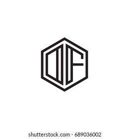 Initial letter DF, OF, minimalist line art monogram hexagon logo, black color
