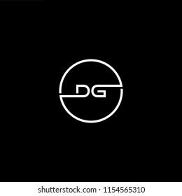 Initial letter DG GD minimalist art monogram circle shape logo, white color on black background