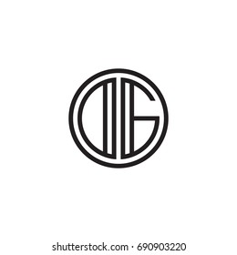Initial letter DG, OG, minimalist line art monogram circle logo, black color