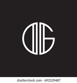 Initial letter DG, OG, minimalist line art monogram circle shape logo, white color on black background