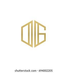 Initial letter DG, OG, minimalist line art hexagon shape logo, gold color