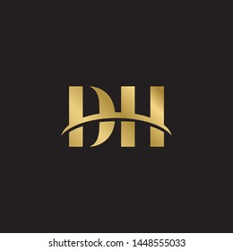Initial letter dh d h uppercase modern logo design template elements. Gold letter Isolated on black  background. Suitable for business, consulting group company.