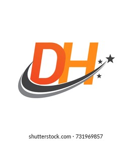 initial letter DH logotype company name colored orange and grey swoosh star design. vector logo for business and company identity.