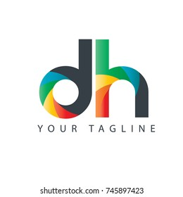 Initial Letter DH Rounded Design Logo