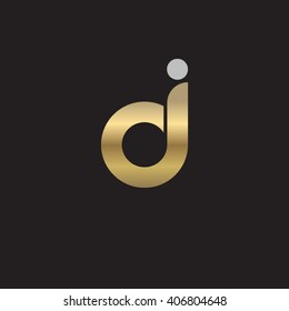 initial letter dj, jd linked circle lowercase logo gold silver black background