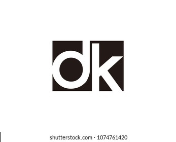 Initial letter dk lowercase logo black and white
