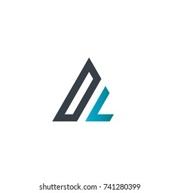 Initial Letter DL Linked Triangle Design Logo