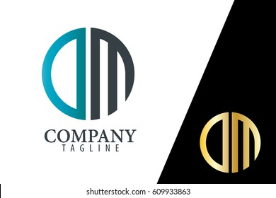 Initial Letter DM With Linked Circle Logo
