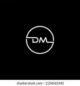 Initial letter DM MD minimalist art monogram circle shape logo, white color on black background