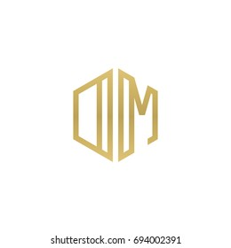 Initial letter DM, OM, minimalist line art hexagon shape logo, gold color