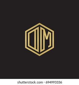 Initial letter DM, OM, minimalist line art hexagon logo, gold color on black background