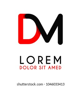 initial Letter DM with red Black and has rounded corners