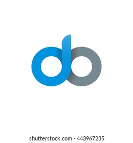 initial letter do, letter db, modern linked circle round lowercase logo blue gray