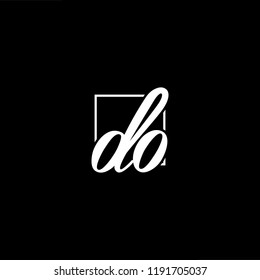 Initial letter DO OD minimalist art monogram shape logo, white color on black background