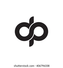 initial letter dp linked circle lowercase monogram logo black