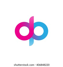 initial letter dp linked circle lowercase logo ping blue purple