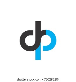 Initial Letter DP Linked Circle Lowercase Logo Black Blue Icon Design Template Element