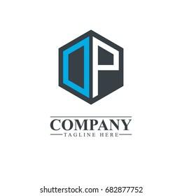 Initial Letter DP OP Hexagonal Design Logo